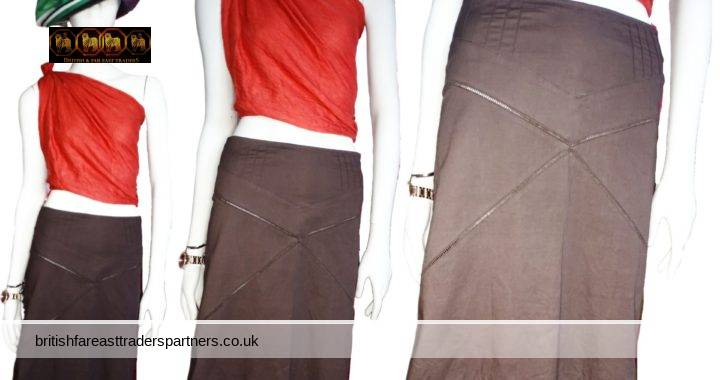MISS SELFRIDGE BROWN Cutout Details A- Line MIDI SKIRT GB 8 EURO 36 WOMEN'S CLOTHING SKIRTS   FASHION