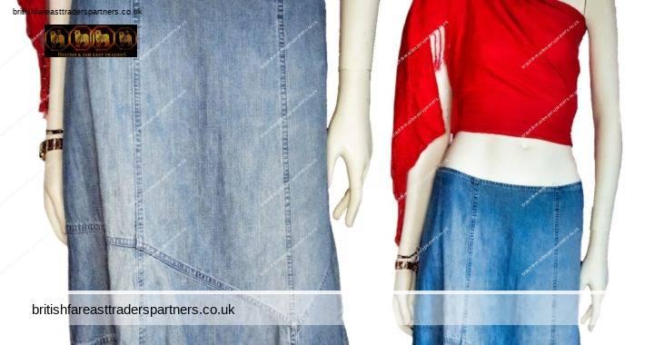 BHS Universal Jeans STONEWASHED Light Denim  100% COTTON Midi ASSYMETRIC Skirt UK 12  EURO 40 WOMEN'S CLOTHING | SKIRTS | FASHION